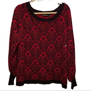 NY & Co. NWT XL Red & Black Designed Sweater